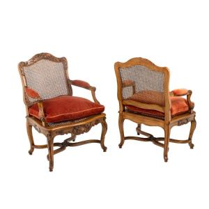 Pair Of Regence Style Armchairs In Beech And Cane, Twentieth Century, Ls4699701