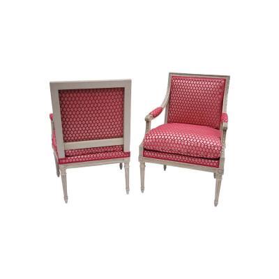 Paire de fauteuils à la reine de style Louis XVI, circa 1900 - LS26111701