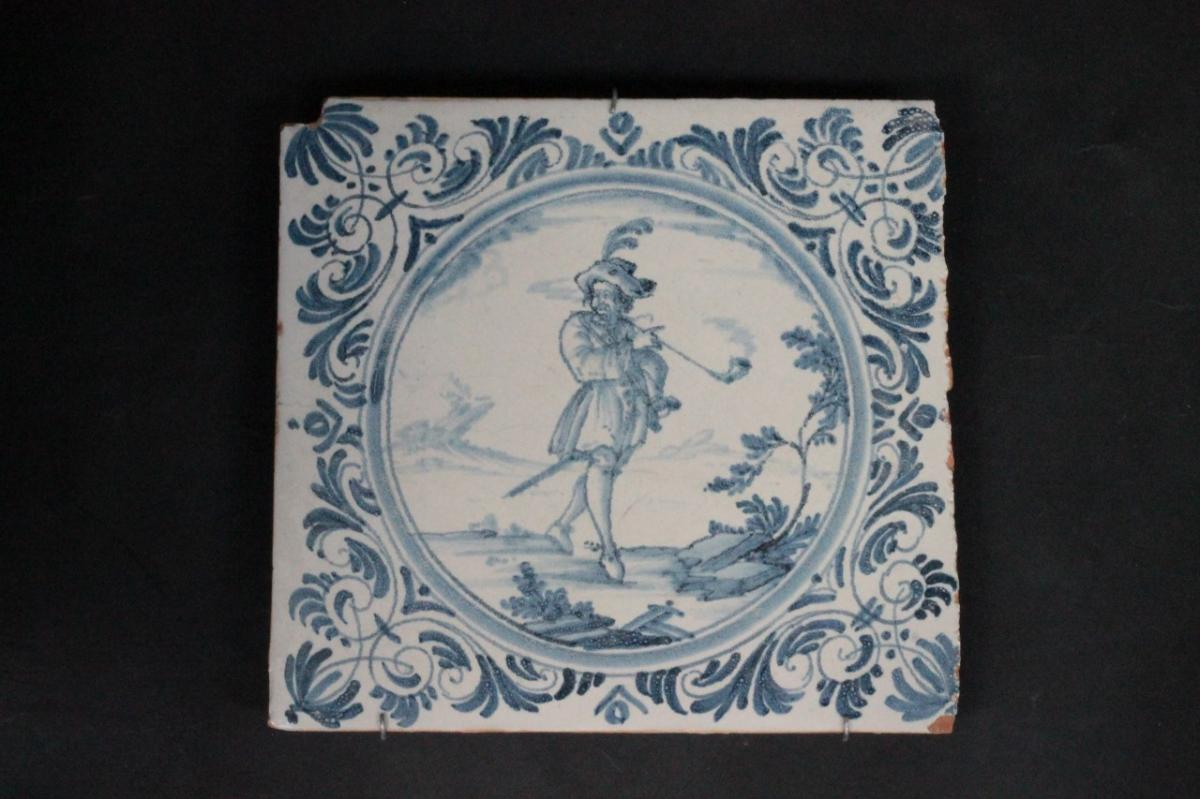 Large Tile In Earthenware From Lyon, 18th