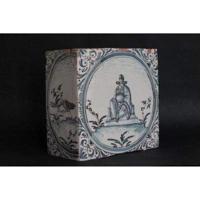 18 Inch Earthenware Stove Corner Tile From Lyon