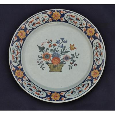 Rouen, Plate Decorated With A Basket Of Flowers.