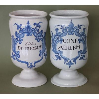 Luneville. Pair Of Pots At Pharmacy.