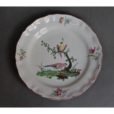 Rouen Earthenware Plate Decorated With Branched Birds In Small Fire. Eighteenth Century.