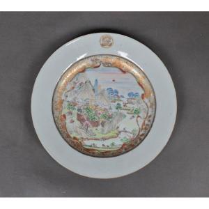 Assiette En Porcelaine De Chine Représentant La Rivière Courage à Canton. Epoque Qianlong, 18e