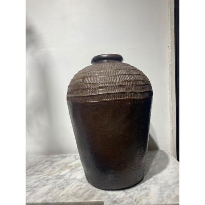Grand pot ceramique glacuree Chine epoque Ming