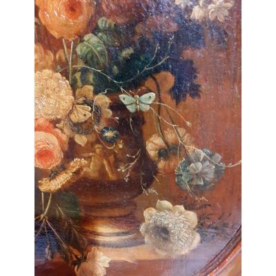 Paire De Bouquets De Fleurs En Médaillons