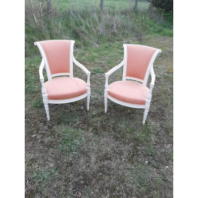 Pair Of Directoire Period Armchairs.