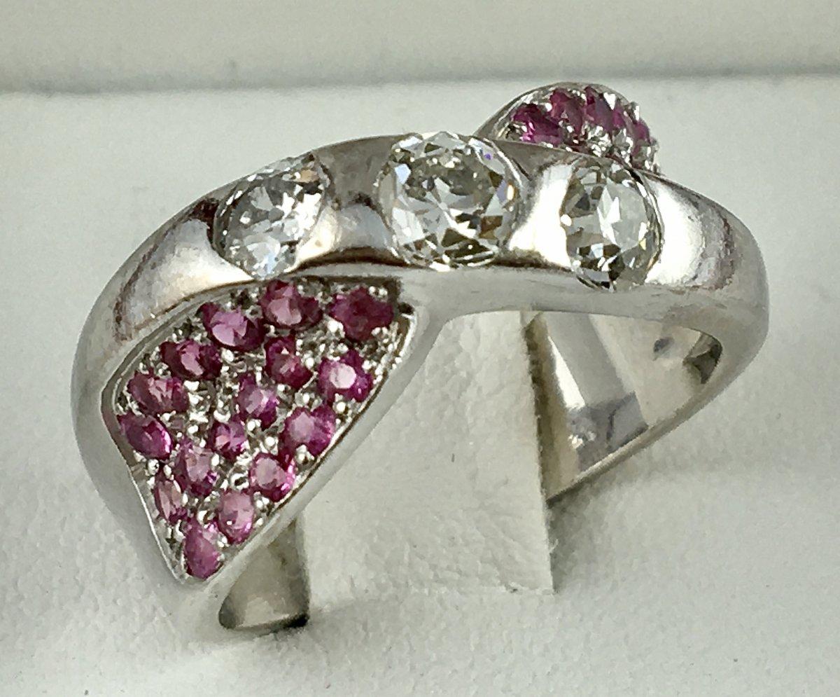 Bague Or Blanc Diamants Et Pavage Saphirs Roses-photo-1