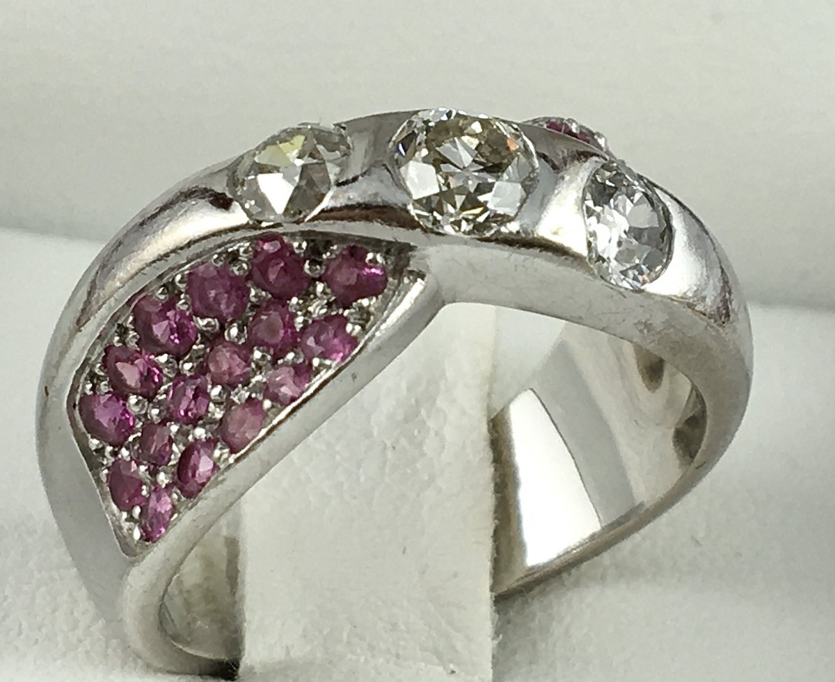 Bague Or Blanc Diamants Et Pavage Saphirs Roses-photo-2