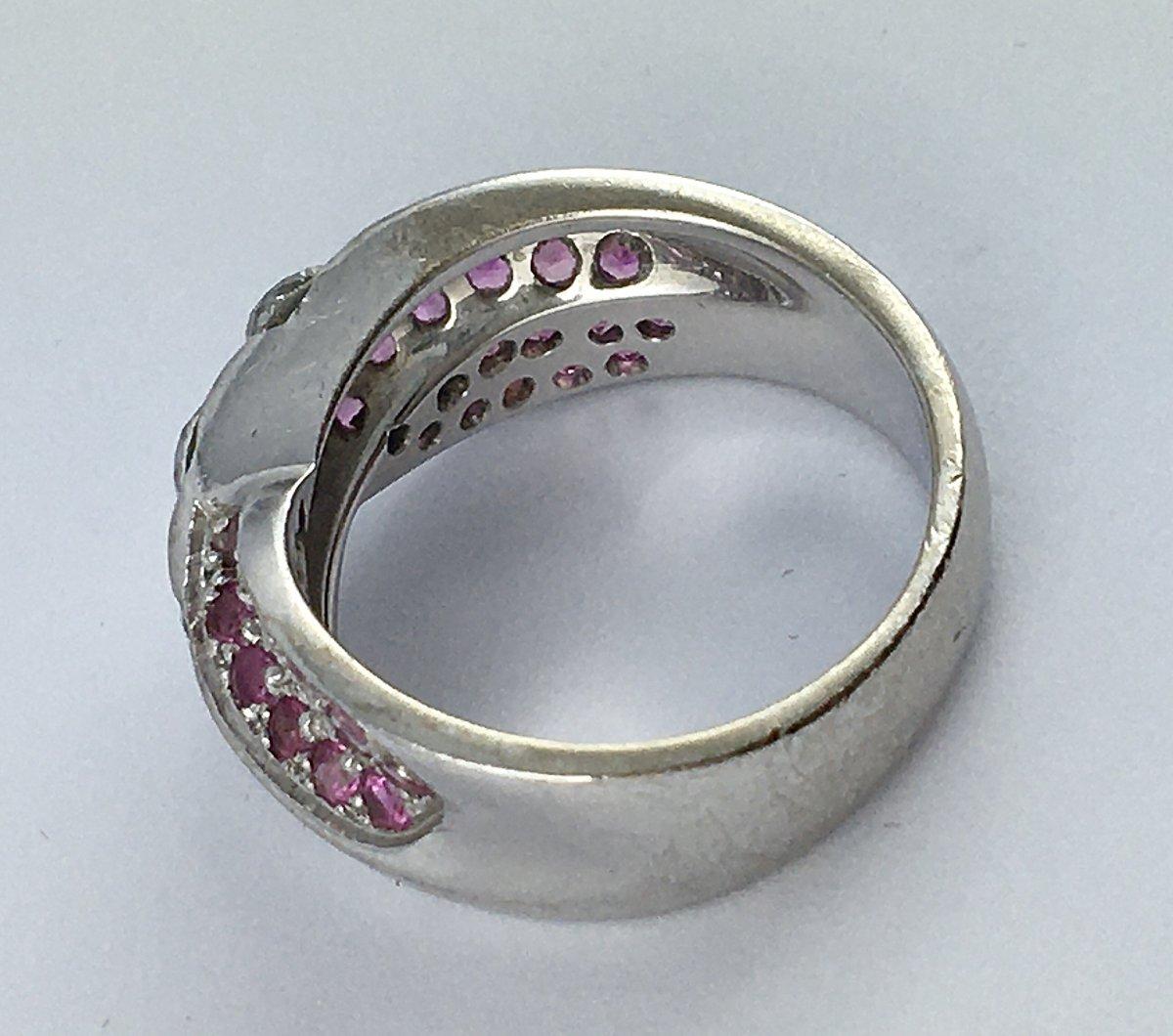 Bague Or Blanc Diamants Et Pavage Saphirs Roses-photo-6