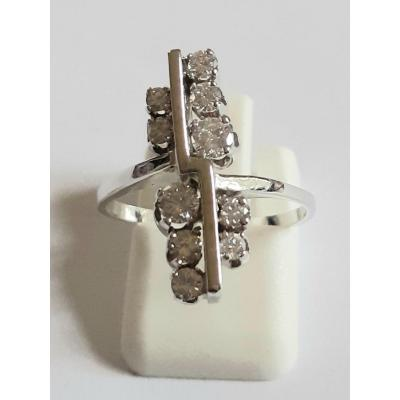 Sixties Ring White Gold And Diamonds