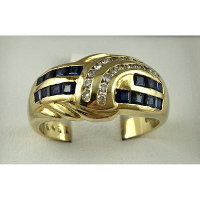 Bague Or Jaune Diamants Et Saphirs Calibrés