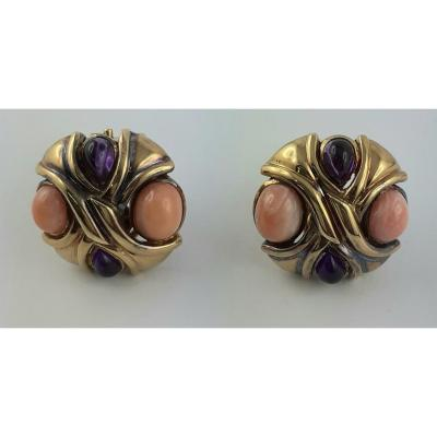 Gold And Coral And Amethyst Cabochons Earrings