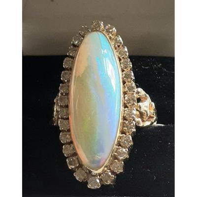 Grande Bague Opale Et Diamants