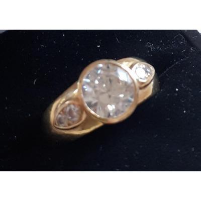 Bague jonc or et diamants,  diamant central :1,75 carat