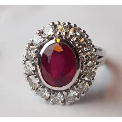 Bague Entourage Rubis Et Diamants