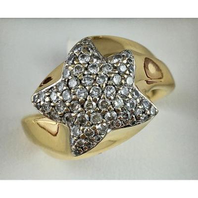 Bague Etoile De Mer Or Jaune Pavage De Diamants