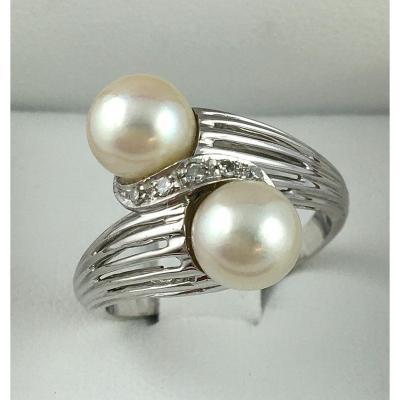 Bague Toi Et Moi Or Blanc Perles De Culture Akoya Japonaises Et Diamants