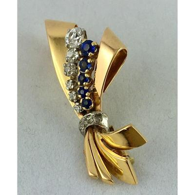 40s Knot Brooch Yellow, Rose Gold, Platinum, Diamonds And Synthetic Sapphires