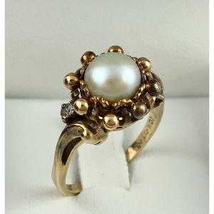 Bague Or Rose Perle Bouton et Diamants