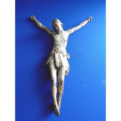 Christ En Bois Sculpté Polychrome XVIIe Espagne Ou Portugal