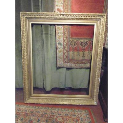 Large Wooden Frame And Stucco Golden Patina