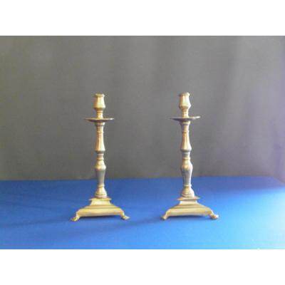 Pair Of Candlesticks In Bronze XVII