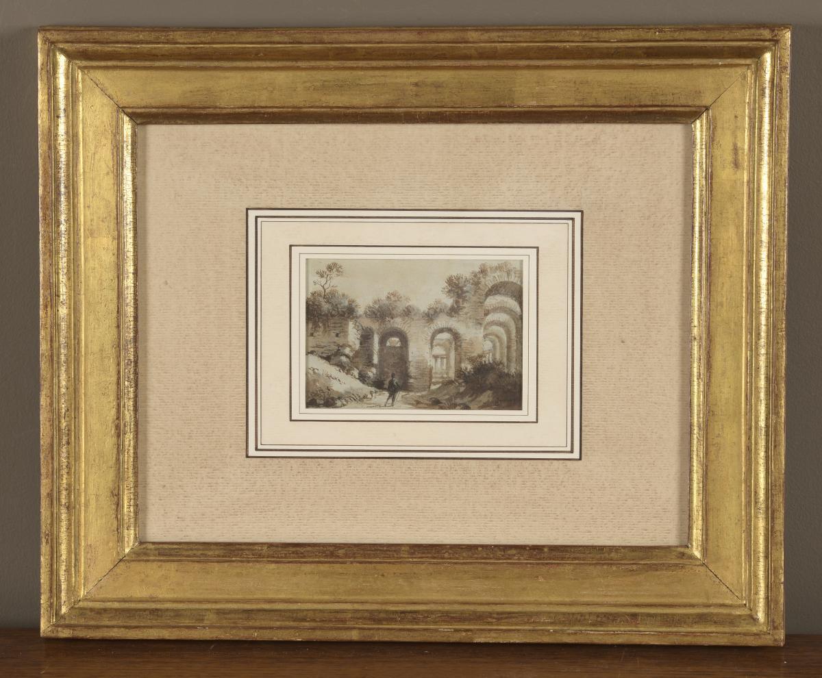Lavis De François Marius Granet  XIXe.scène Et Vue De Ruines