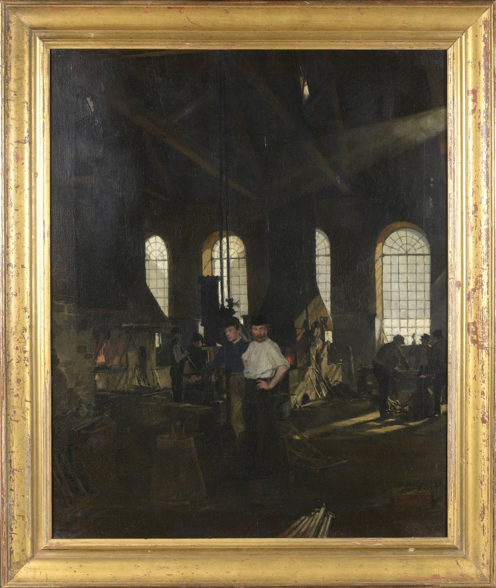 Grand Tableau.usine.interior A Forge Gustave Vilhelm.blom. Danish Painter