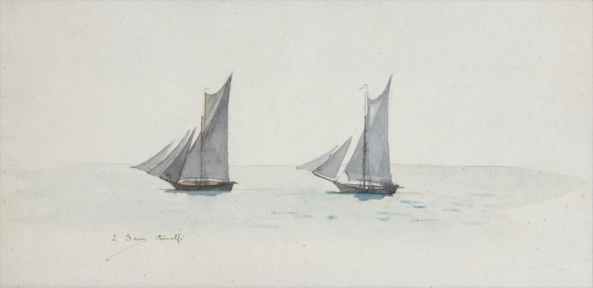 Watercolor: Sailboats. Amalfi De Edouard Sain. Signé.xixe