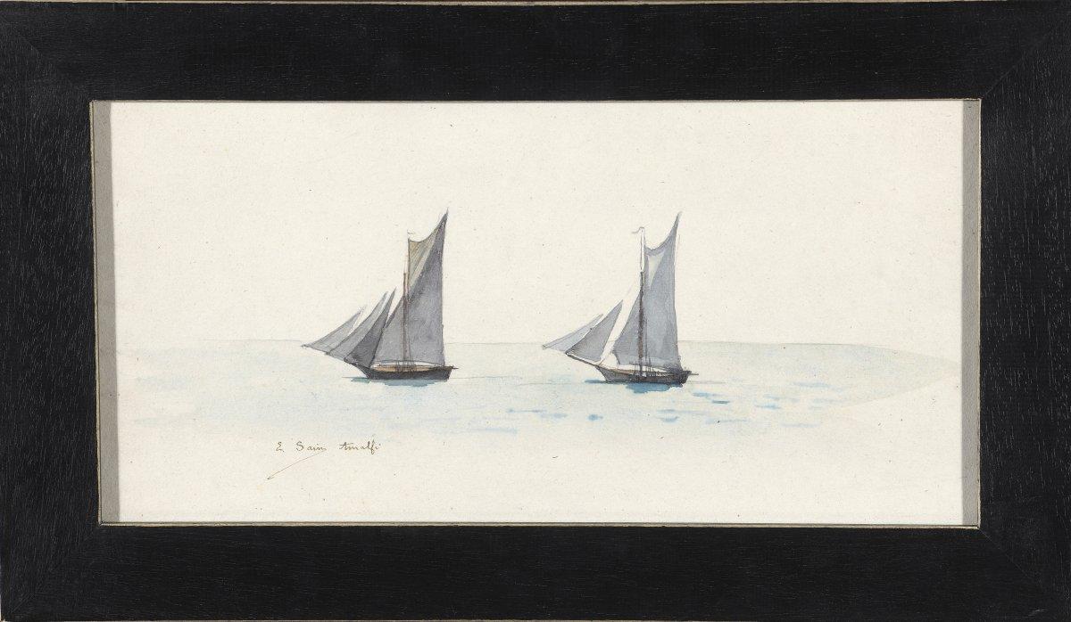 Watercolor: Sailboats. Amalfi De Edouard Sain. Signé.xixe-photo-2