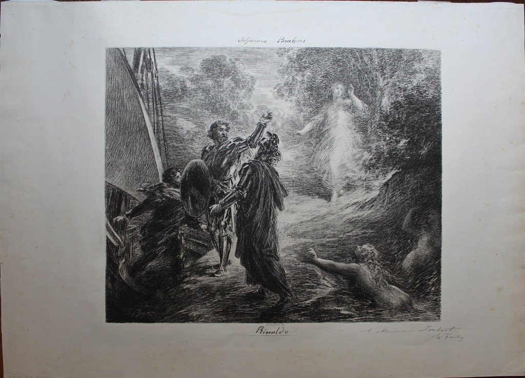 Henri Fantin-latour (1836-1904) Grande & Rare Lithography Signed & Dedicated With Pencil Brahms