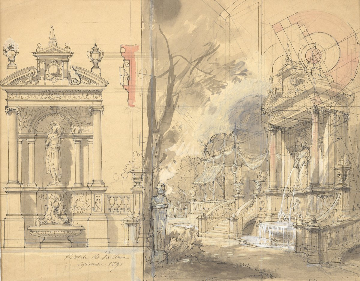 De Philippe Chaperon  XIXe , Dessin :plume Encre Et Aquarelle d'Un Projet De Fontaine