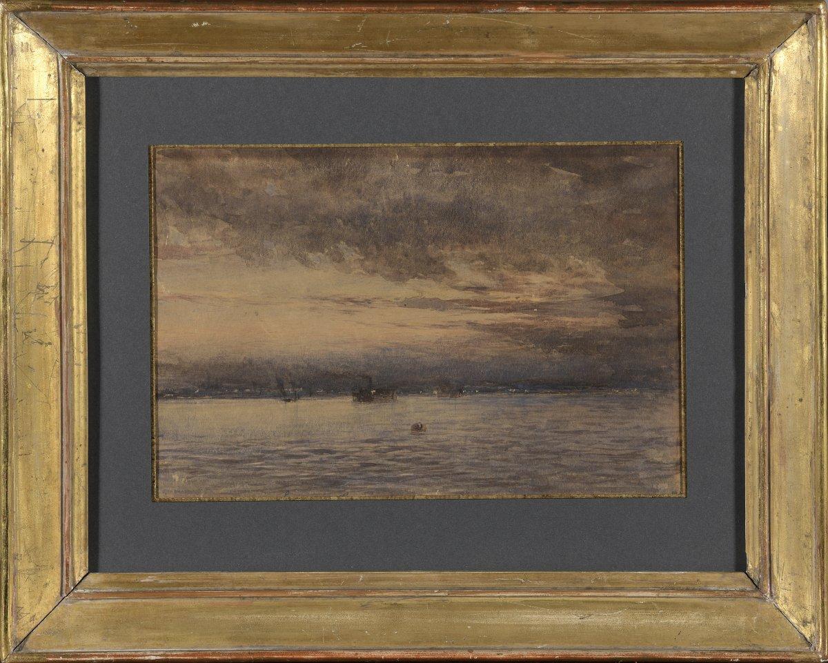 Très Belle  Marine  à l'Aquarelle  Attribué à Thomas Girtin  XIXe