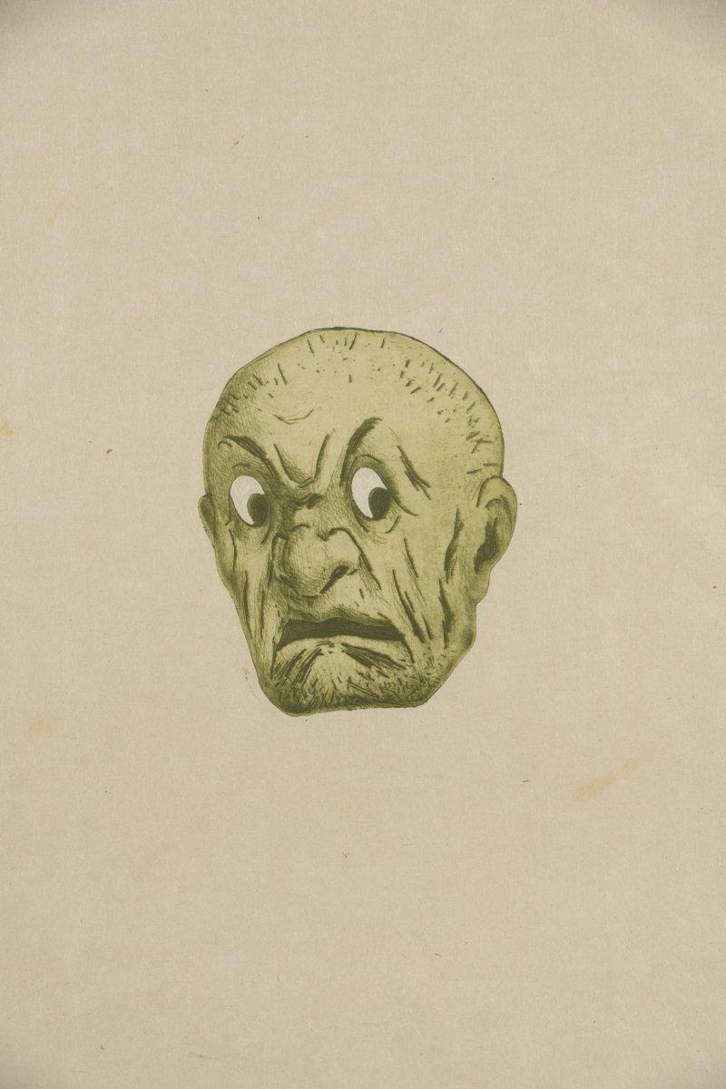 Henri Guérard . Masque Japonnais. la peur. Eau-forte et Aquatinte  Sur Cuivre .Avant 1888