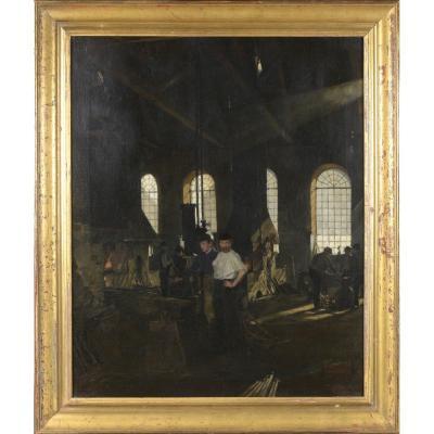 Grand Tableau.usine.interior A Forge Gustave Vilhelm.blom. Danish Painter