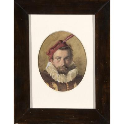 Watercolor. Portrait Of Frederick Goodall. Monogrammed. Nineteenth