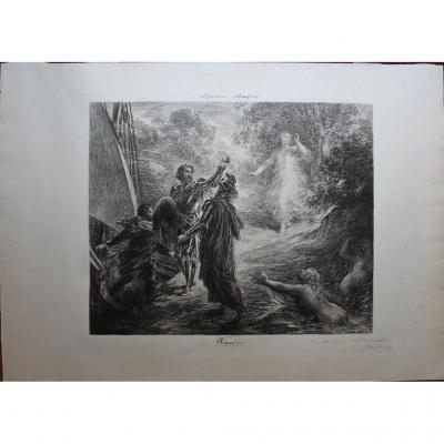 Henri Fantin-latour (1836-1904) Grande & Rare Lithography Signed & Dedicated With Pencil Brahms