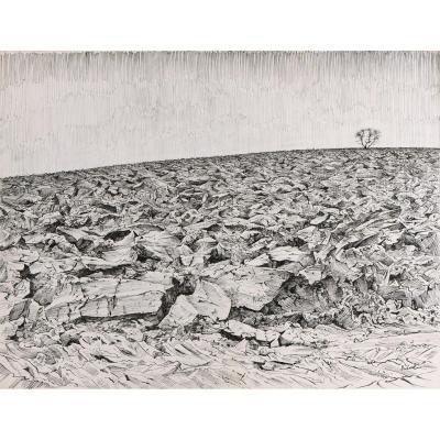 Marcel Dudouet: Pen And Ink Drawing: Champ Labouré