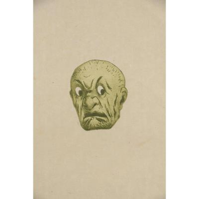 Henri Guérard; Japanese Mask., Fear. Etching And Aquatint On Copper Before 1888