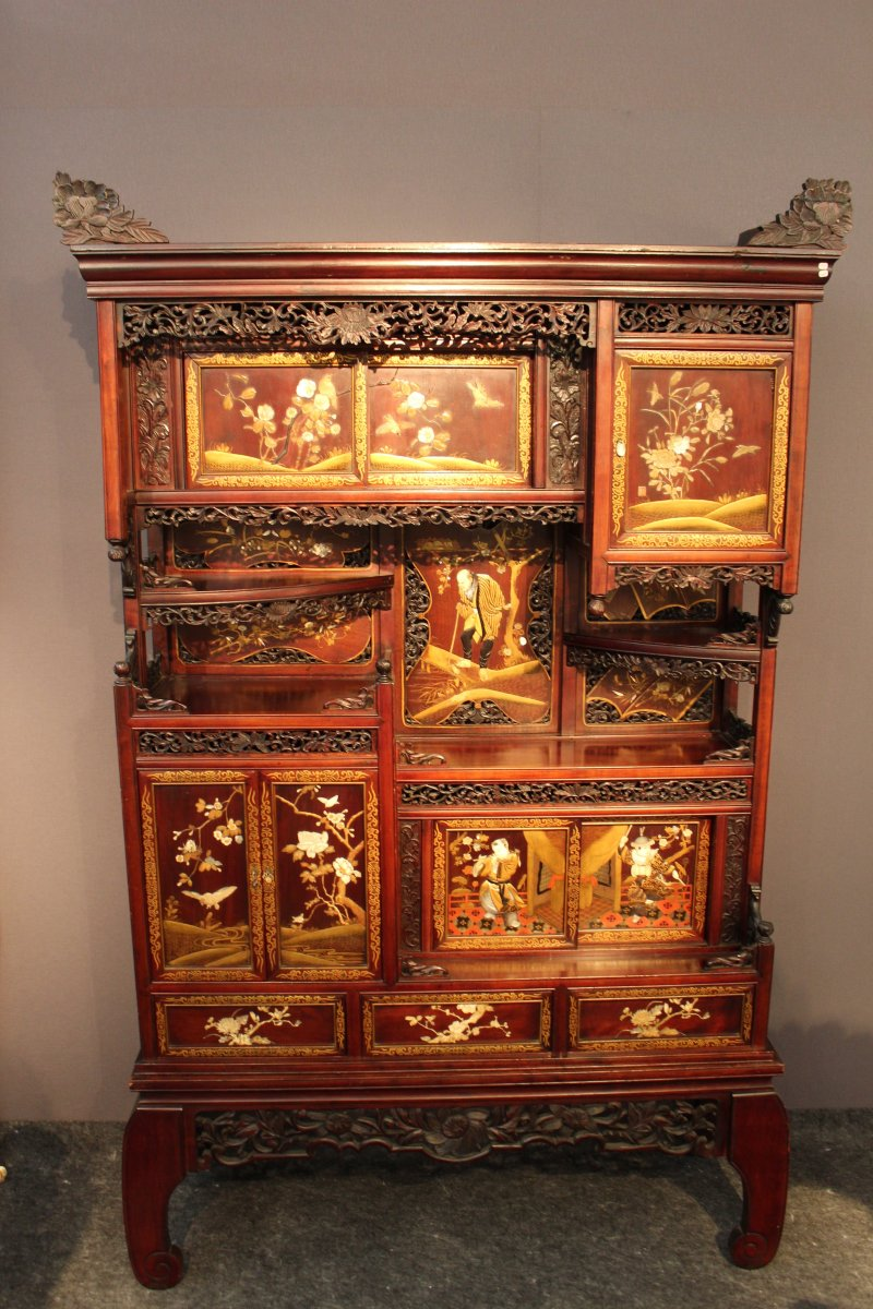 Japanese Cabinet With Inlays Shibayama