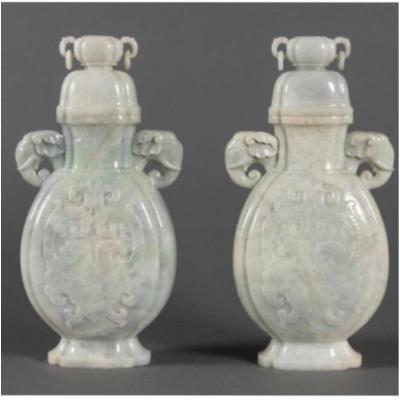 Rare Paire De Vase En Jade Sculpté