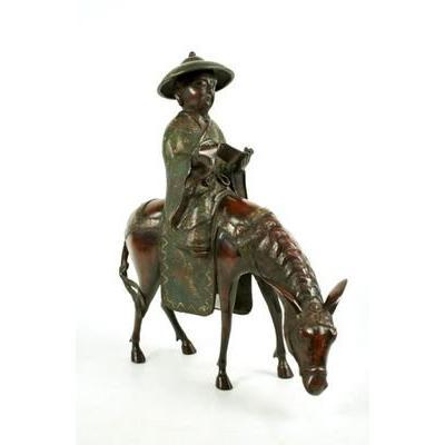 Toba The Poet Riding A Mule In Cloisonne Bronze