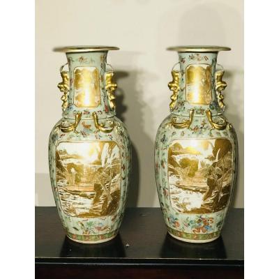 Paire De Grands Vases En Porcelaine De Canton
