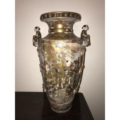 Grand Vase En Faïence Satzuma à Décors De Samouraïs