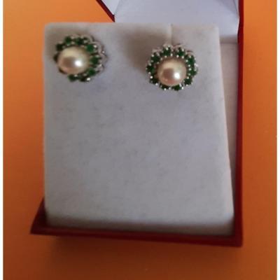 Boucles d'Oreille Perle émeraudes