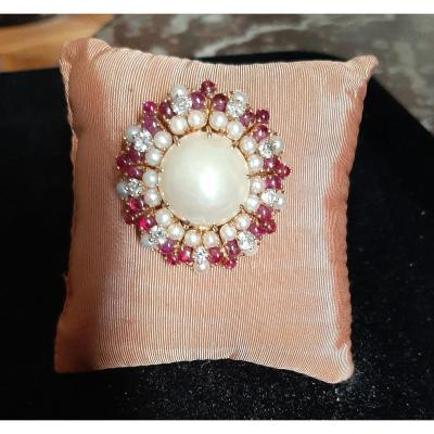 Broche Perles, Diamants, Rubis