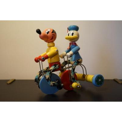 Donald And Mickey In Tricycle