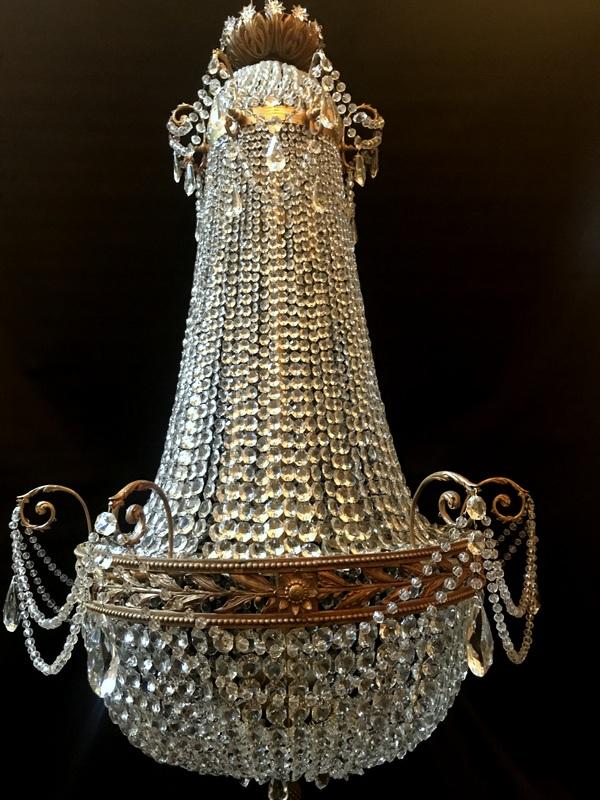 Grand Lustre Montgolfière Bronze Et Cristal