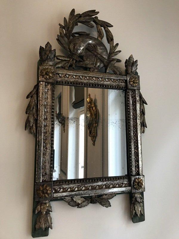 Louis XVI Mirror In Silver Wood-photo-2